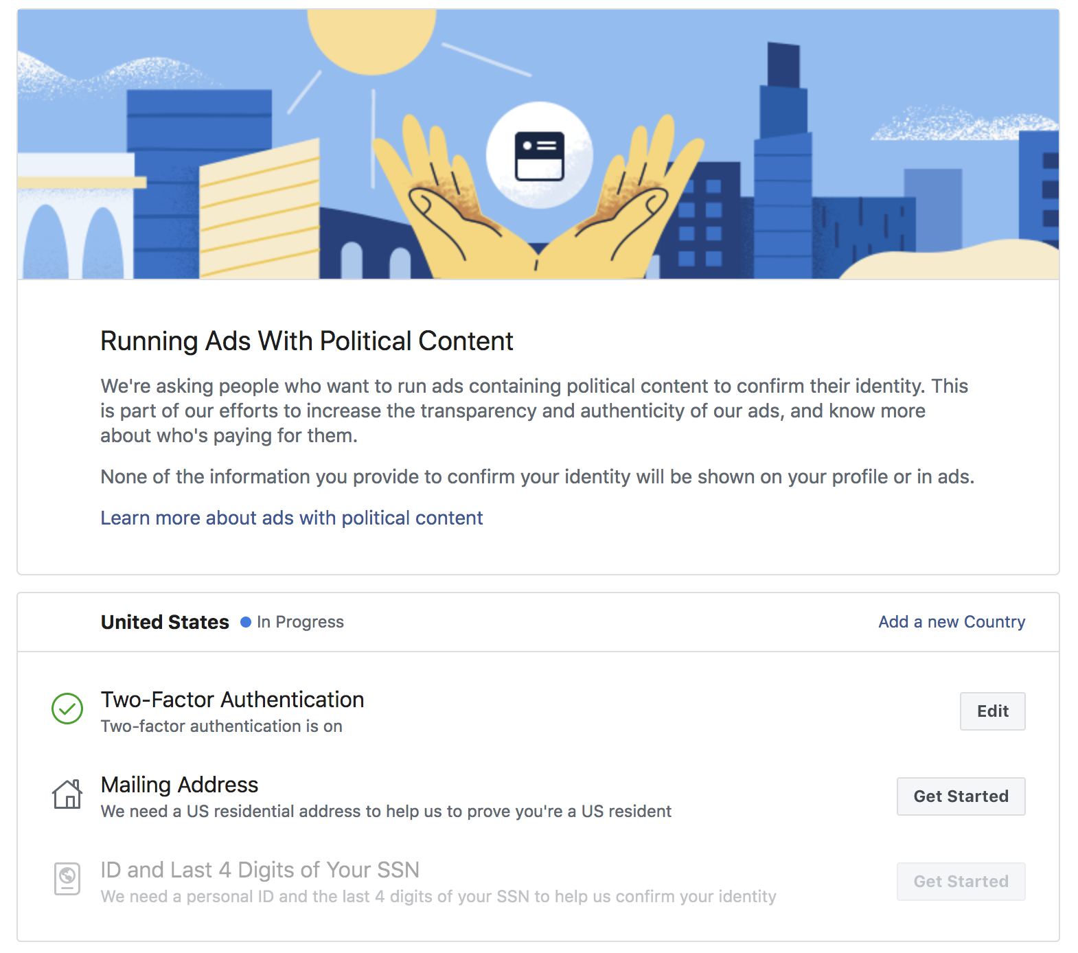 Political ad setup facebook