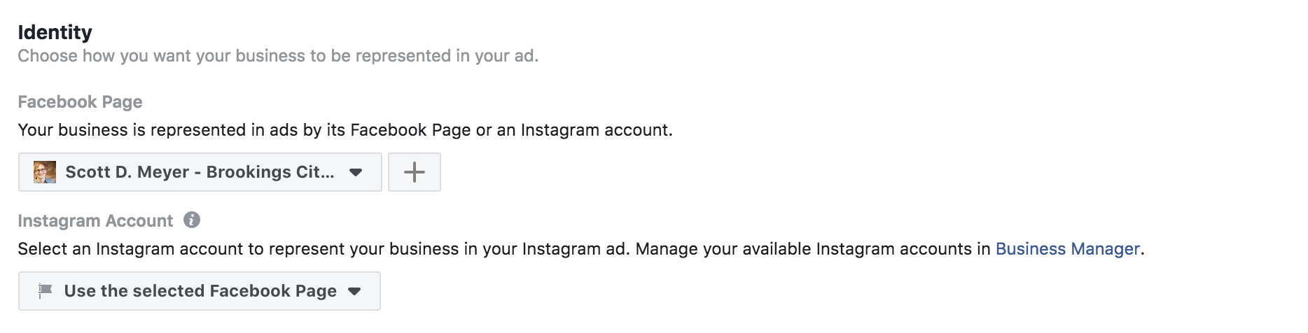 facebook ad identity